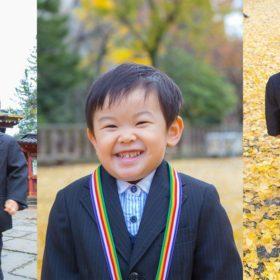東京の根津神社に出張撮影した三歳の男の子の写真