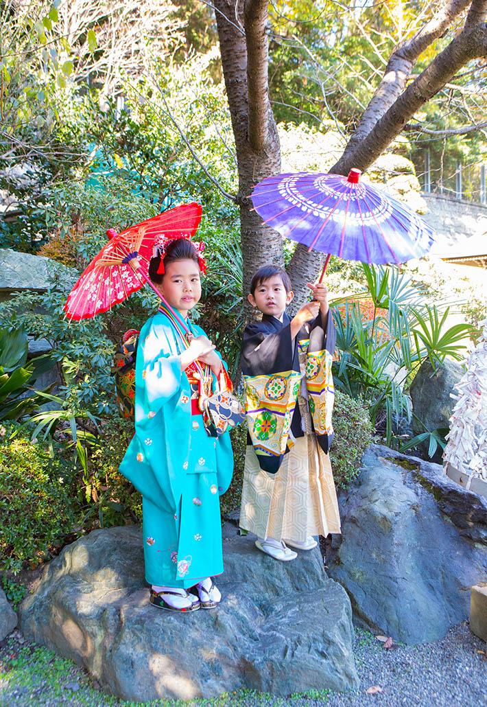 七五三の傘を持った兄弟の写真