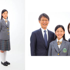 中学校入学記念の家族写真