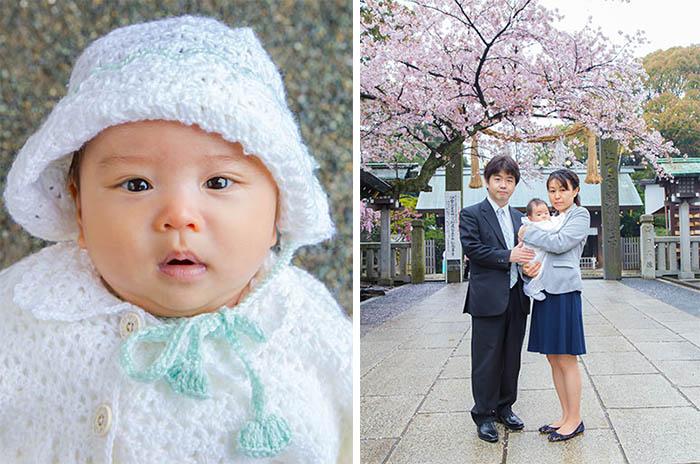 お宮参りの赤ちゃんとご家族の写真