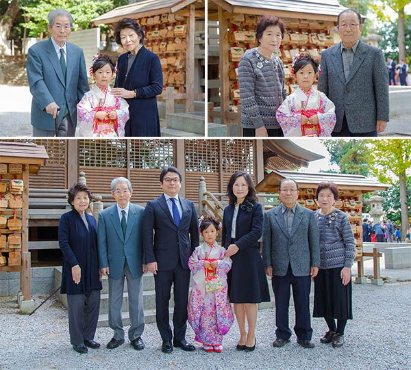 七五三記念日の家族・親族の集合写真