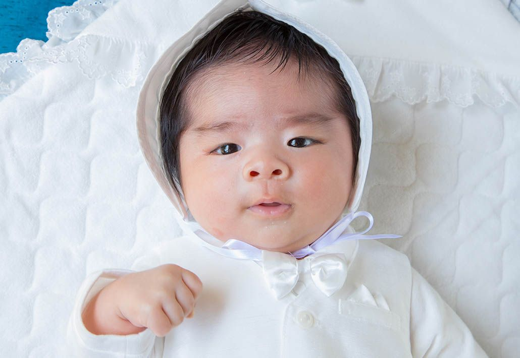 川崎市宮前区の白幡八幡大神に出張撮影したお宮参りの赤ちゃんの写真